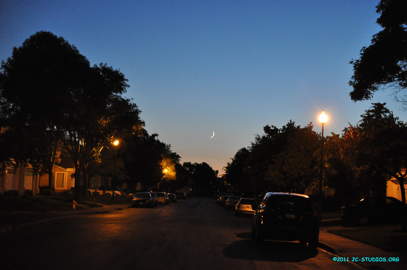 08/01/2011 - Crescent Moon with evening color. I like the blue and slightly reddish skies,
