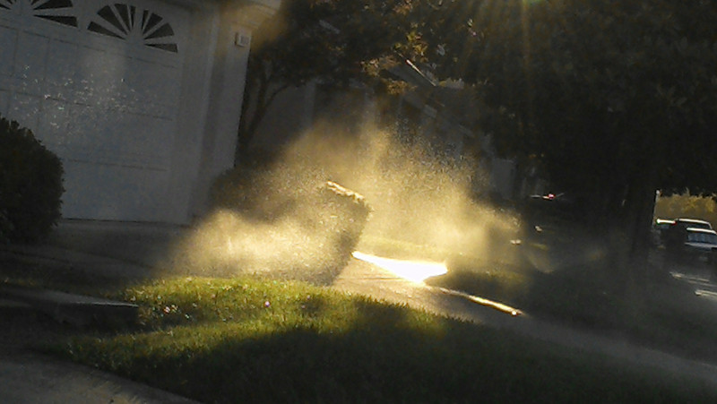 09/16/2013 - Sprinkler On... I like the mist under the sun.