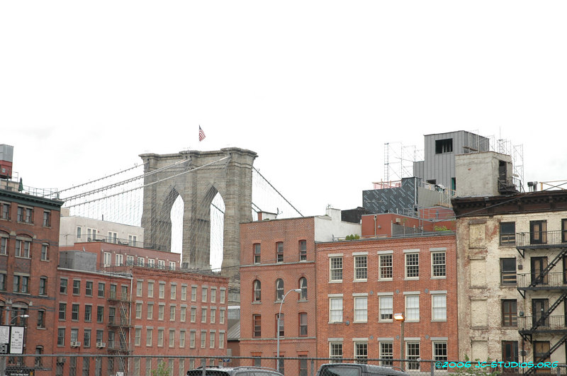 Brooklyn Bridge and surrounding buildings, New York, NY