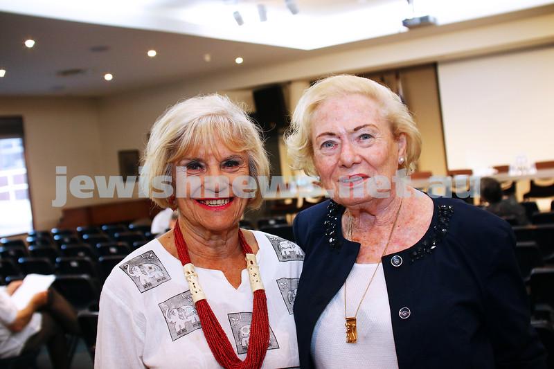 JCCV plenum. Dita Gould (left), Ruth Hampel. Photo: Peter Haskin