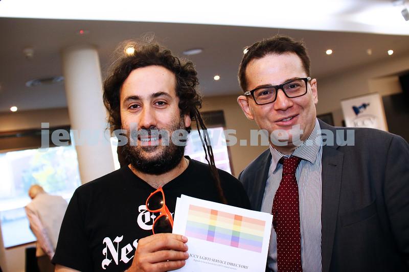 JCCV plenum. Bram Presser (left), Doron Abramovici. Photo: Peter Haskin