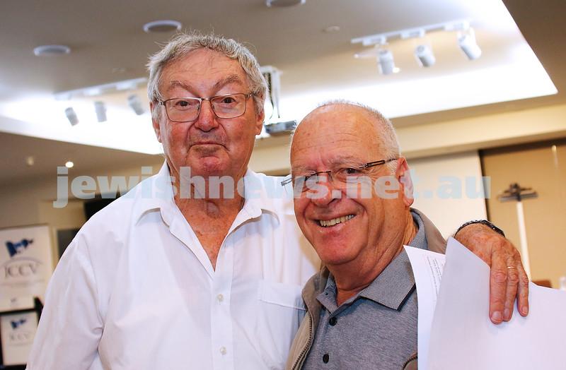 JCCV plenum. Arnold Dexter (left), Ilan Ben-David. Photo: Peter Haskin