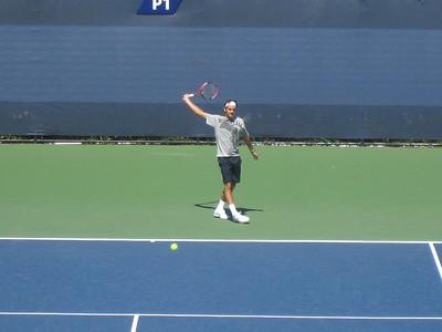 Roger practicing backhand