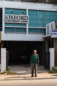 Vini Mahajan outside Oxford University Press Building