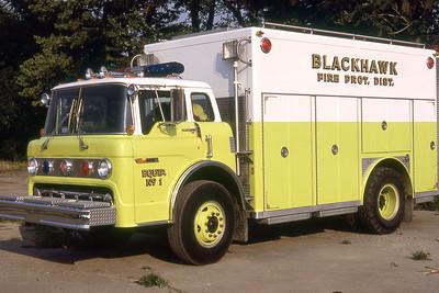 BLACKHAWK FPD  RESCUE 1  1981  FORD C - E-ONE   #2183   GLENN VINCENT PHOTO
