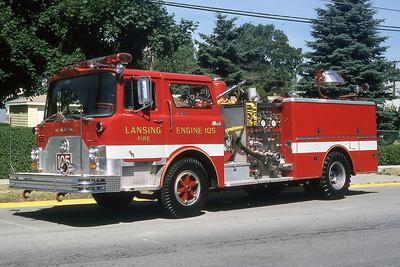 LANSING FD  ENGINE 105  1975  MACK CF   1250-500-300 DC   # CF611F12-1747    GARY KADZ PHOTO