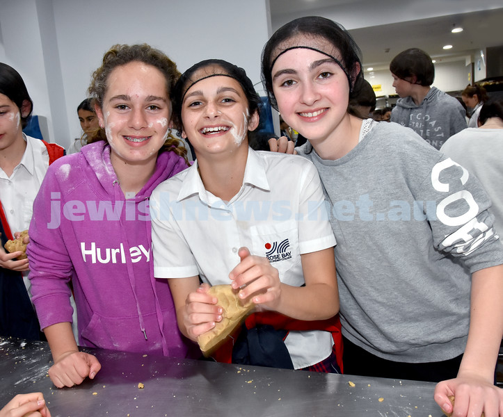 JEMS honey biscuit bake at OBK. From left: Orla Kaldor, Gabi Cohen, Amy Goodman. Pic Noel Kessel
