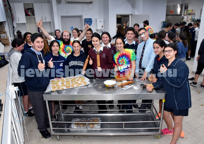 JEMS honey biscuit bake at OBK. Jewish students representing private and public schools pose for a photo. Pic Noel Kessel