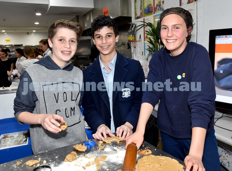 JEMS honey biscuit bake at OBK. From left: Aiden Katz, Dean Sher, Scarlet Marshall. Pic Noel Kessel