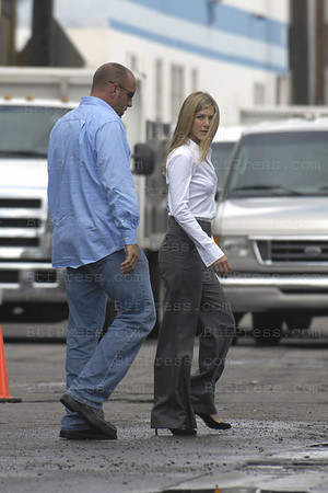 Jennifer Aniston and Ben Affleck during the set of HE'S JUST NOT THAT INTO YOU in Los Angeles.