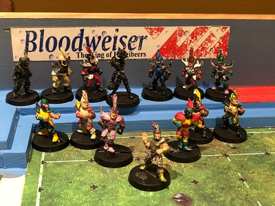 Original Dark Elf Blood bowl Team painted (might need some touch ups) 75$ Includes Cheerleader