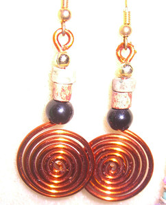 Copper Spiral Dangling Earrings - GREAT for Dancing  $10   1-941-312-7569  •  SarongGoddess@gmail.com