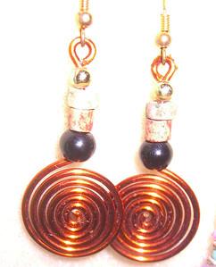 Copper Spiral Dangling Earrings - GREAT for Dancing  $10   1-941-312-7569  •  SarongGoddess@gmail.com