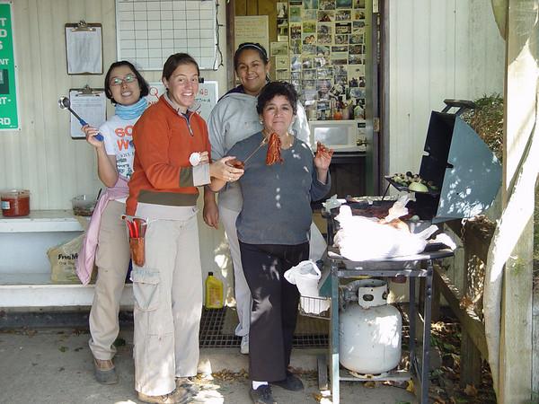 Yuko, Marianela, Juana & Elia preparing Carne Azada for Marianela's Goodbye Lunch. September 12th 2007.