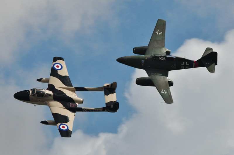 The jets of World War II<br />  Dhavilland Vampire Jet and the Messerschmit 262 fly together!