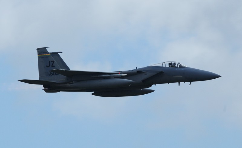 And they surprised us with a fly over with the F-15 Eagle who flew from a base in Louisiana.