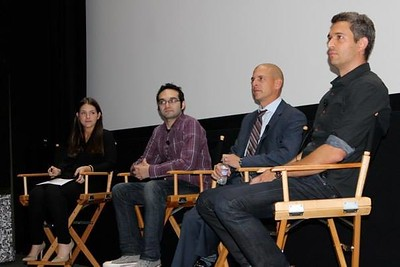(From L to R): Ali Barash (UTA), Benny Fine (The Fine Brothers), Brent Weinstein (UTA), Mike Farrah (Funny Or Die)