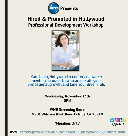 JHRTS  Hired & Promoted Workshop with Kate Lupo (11/16/16)