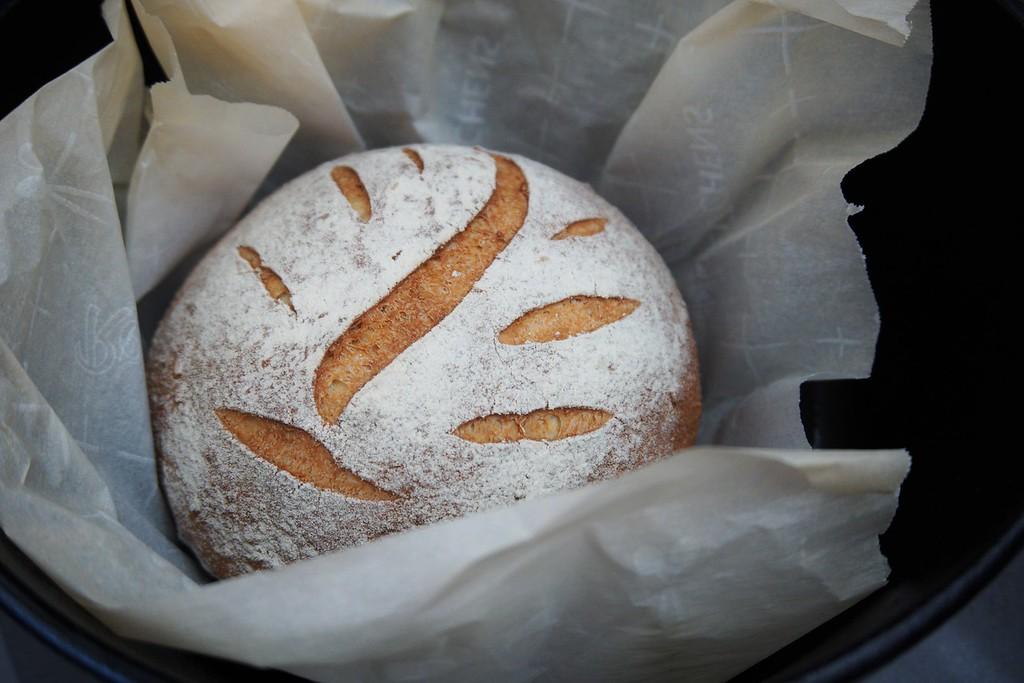 Slits in sourdough bread