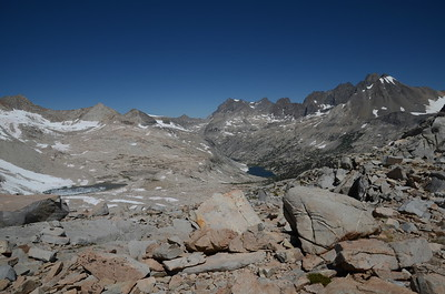 I've finally reached the top of Mather Pass - 12,100 ft. This is the view to the northwest with Upper Palisade Lake just right of center.