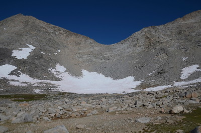 Fortunately we don't have to cross the big snowfield below the pass. However, one of those tiny snowfields up higher will prove to be the sketchiest on this side of the pass.