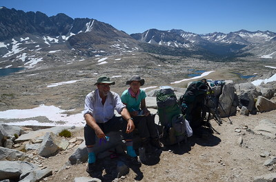 Chuck and Jill enjoying being on TOP of Mather Pass.