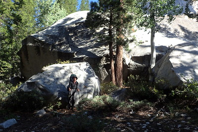 That there is a BIG boulder! (With Jill for scale). Photo by Chuck Haak.