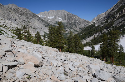 Looking back toward LeConte Canyon. The trail is climbing steadily now on its way up toward Muir Pass.