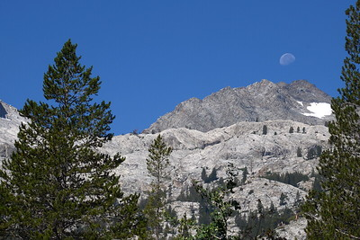 The moon setting over the Black Divide.