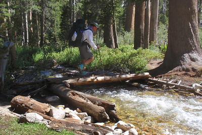 """Another log crossing. I don't recall that we had ANY """"boots off"""" crossings on this day. It was nice. Photo by Jill Haak."""