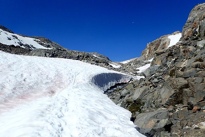 Approaching a very thick snow bridge over the upper reaches of the Middle Fork Kings River. Photo by Chuck Haak.