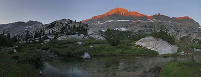 Starr Camp sunrise. The glowing peak is called the Black Giant.