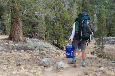 Muir Trail Ranch doesn't like backpackers to hang out after closing time, so we grabbed our resupply buckets and headed for the backpackers' campground at least a half mile away, close to the South Fork San Joaquin River. Photo by Jill Haak.