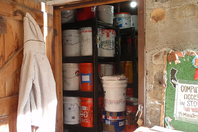 The resupply bucket storage shed. We had mailed our buckets about a month before we got here. Photo by Jill Haak.