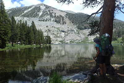 Jill contemplating Lower Sallie Keyes Lake. Photo by Chuck Haak.