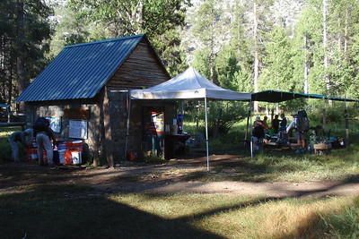 In the morning of Day 14, we returned to the Ranch to wrap up some business. I had packed up about 5 lbs. worth of stuff I wasn't using to mail home, plus we wanted to check the hiker buckets one more time and fill our water bottles up with fresh spring water. I also scored a big bar of dark chocolate from a father/daughter duo from Wisconsin. YAY! Photo by Jill Haak.