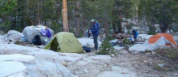 More morning preparations. It generally took us a minimum of one hour to have breakfast, pack up, and start hiking. Photo by Jill Haak.
