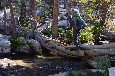Jill crossing a tributary of Bear Creek.