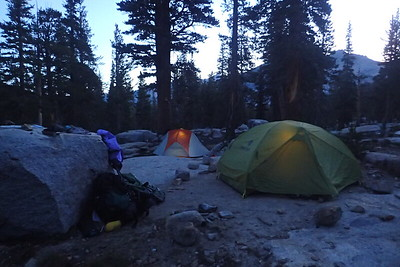 It's 5:49am and our intrepid hikers are busy inside their tents getting ready for another day. Photo by Chuck Haak.
