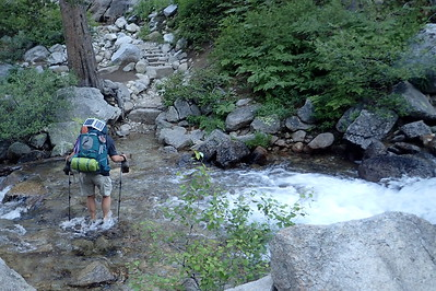 Me crossing North Fork Mono Creek. Photo by Chuck Haak.