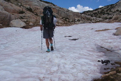We're thinking (hoping) that Silver Pass might be our last encounter with snowfields. Photo by Jill Haak.