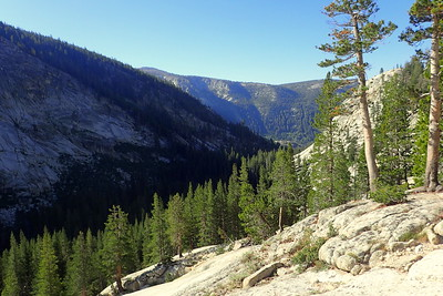Looking back down the canyon where we had camped the night before. Bear Ridge in the distance. Photo by Chuck Haak.