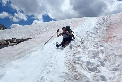 Jill glissading down the north side of Silver Pass. Photo by Chuck Haak.