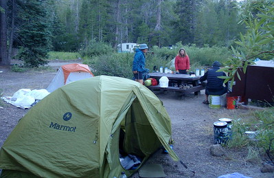 We spent the night at the Red's Meadow backpackers' campsite, which was pretty strange. The pile of what looks like plastic next to my tent is a homeless guy sleeping under what might just be a pile of plastic.  (The gal in the red jacket is who gave me the bar of dark chocolate back at Muir Trail Ranch). Photo by Jill Haak.