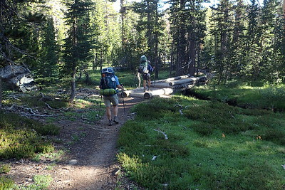 On the trail again, heading for Thousand Island Lake. Photo by Chuck Haak.