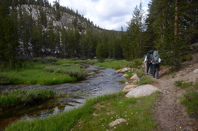 Chuck and Jill hiking along Rock Creek.