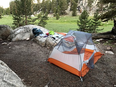 My tent at our campsite near Soldier Lake. Letting everything dry out before hitting the trail.