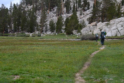 "Chuck and Jill approaching Rock Creek, which will be our first ""boots off"" stream crossing of the hike."