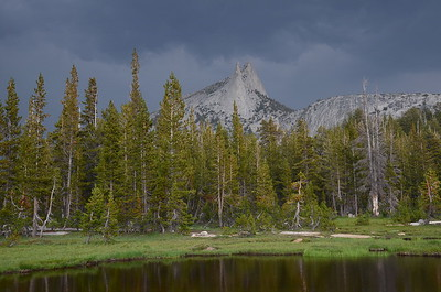 Cathedral Peak. We had a nice thunderstorm roll in on the way to Lower Cathedral Lake. The best part about it was that it chased all the day hikers away. :)