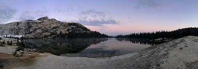Lower Cathedral Lake morning panorama.
